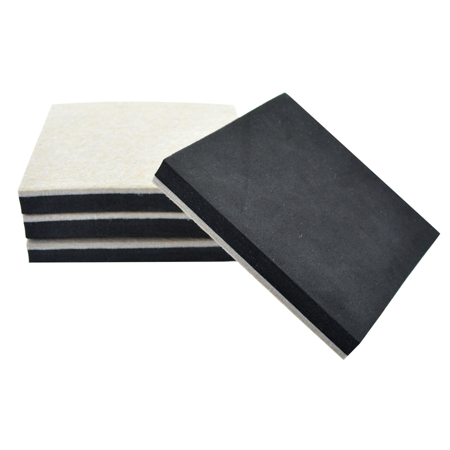 The Hillman Group 4-Pack 5-in Square Reusable Felt Hard Surface Sliders