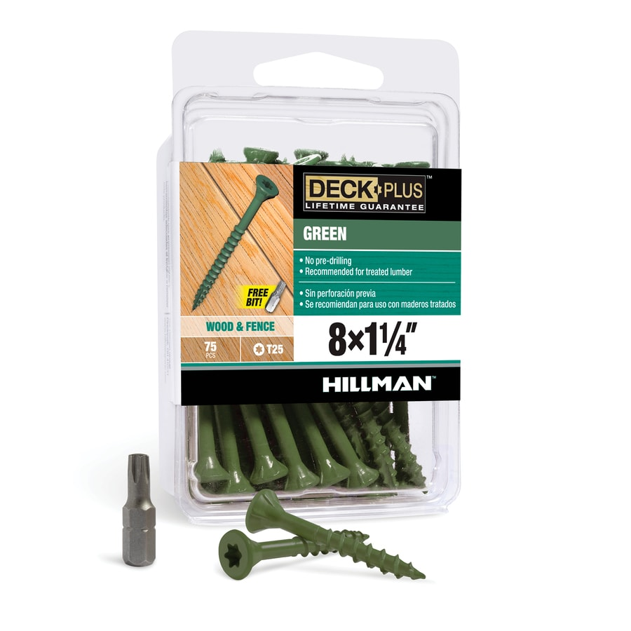 The Hillman Group 75-Count #8 x 1.25-in Countersinking-Head Green Star-Drive Deck Screws