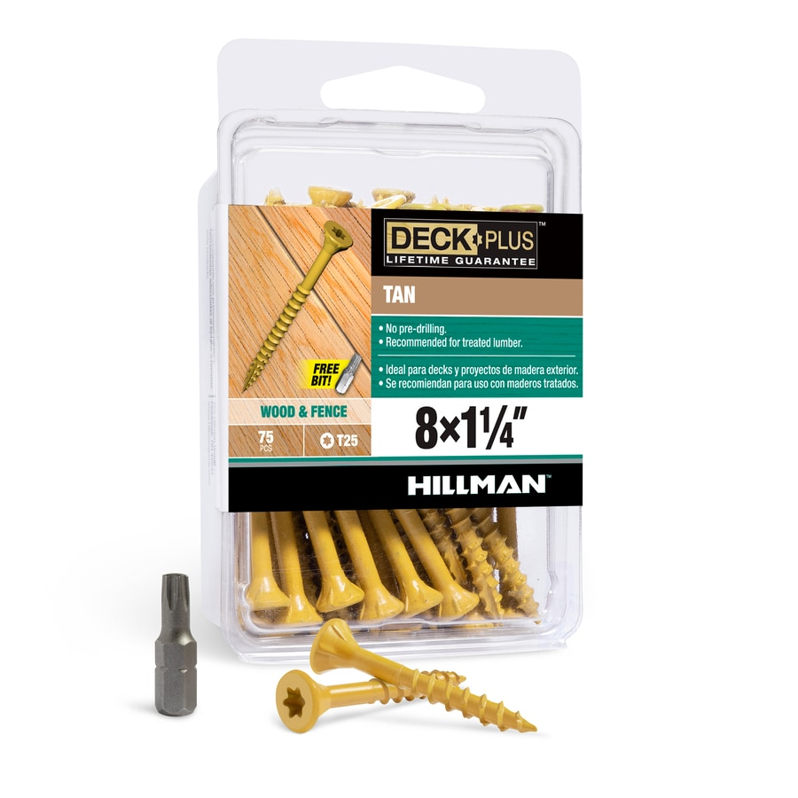 The Hillman Group 75-Count #8 x 1.25-in Countersinking-Head Tan Star-Drive Deck Screws