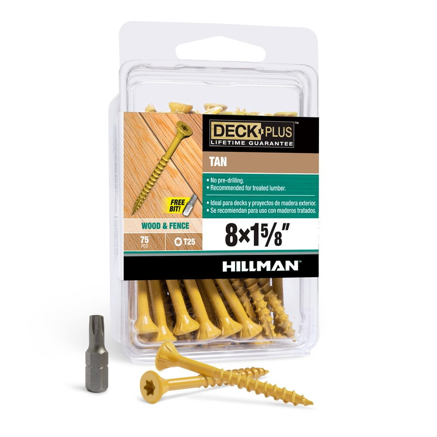 The Hillman Group 75-Count #8 x 1.625-in Countersinking-Head Tan Star-Drive Deck Screws