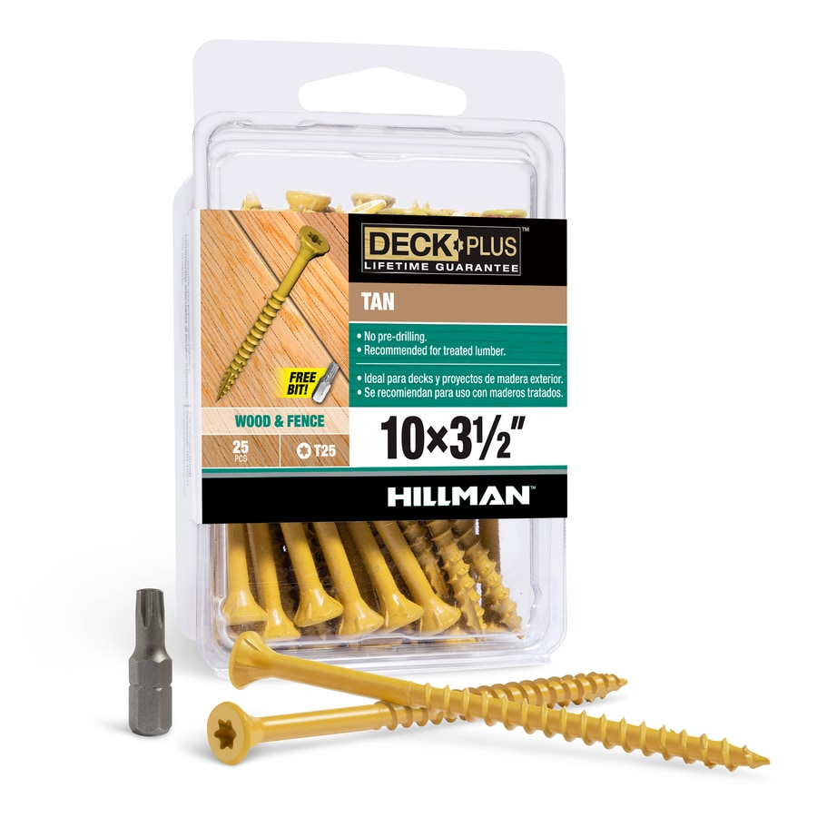 The Hillman Group 25-Count #10 x 3.5-in Countersinking-Head Tan Star-Drive Deck Screws