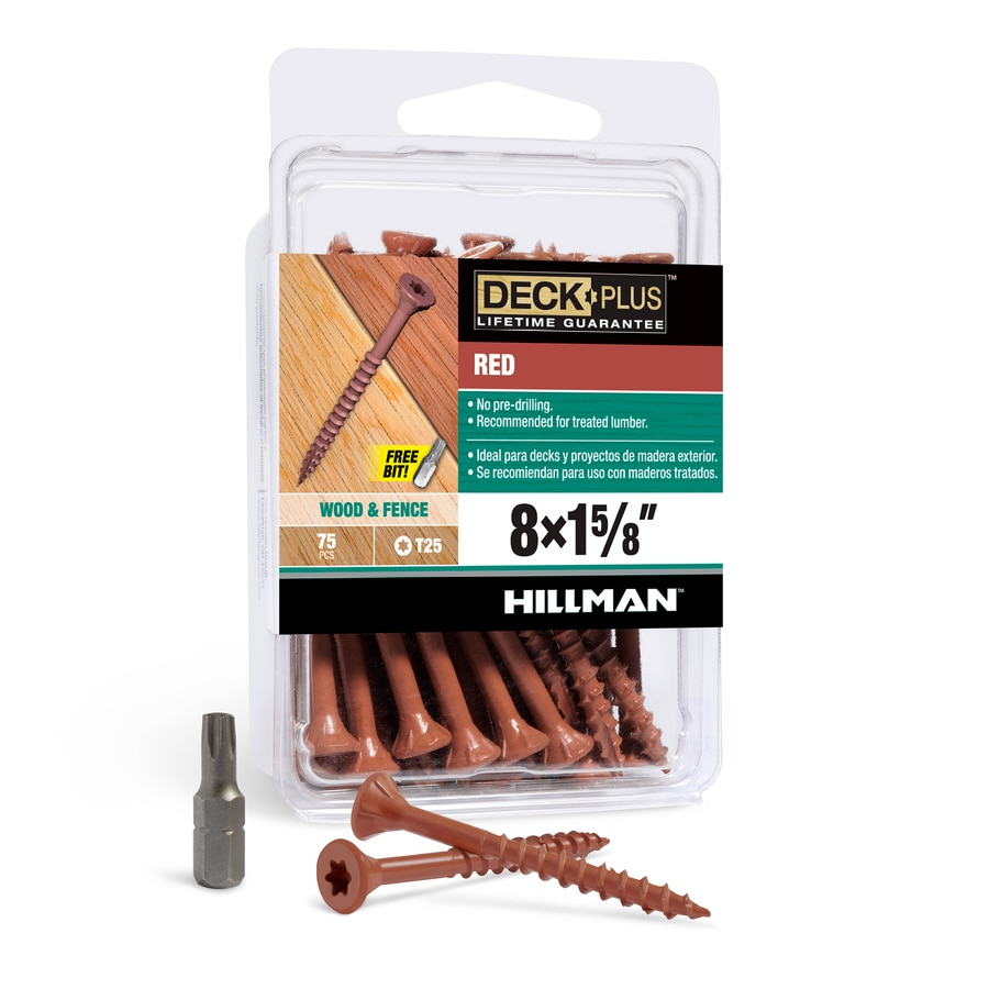 The Hillman Group 75-Count #8 x 1.625-in Countersinking-Head Red Star-Drive Deck Screws