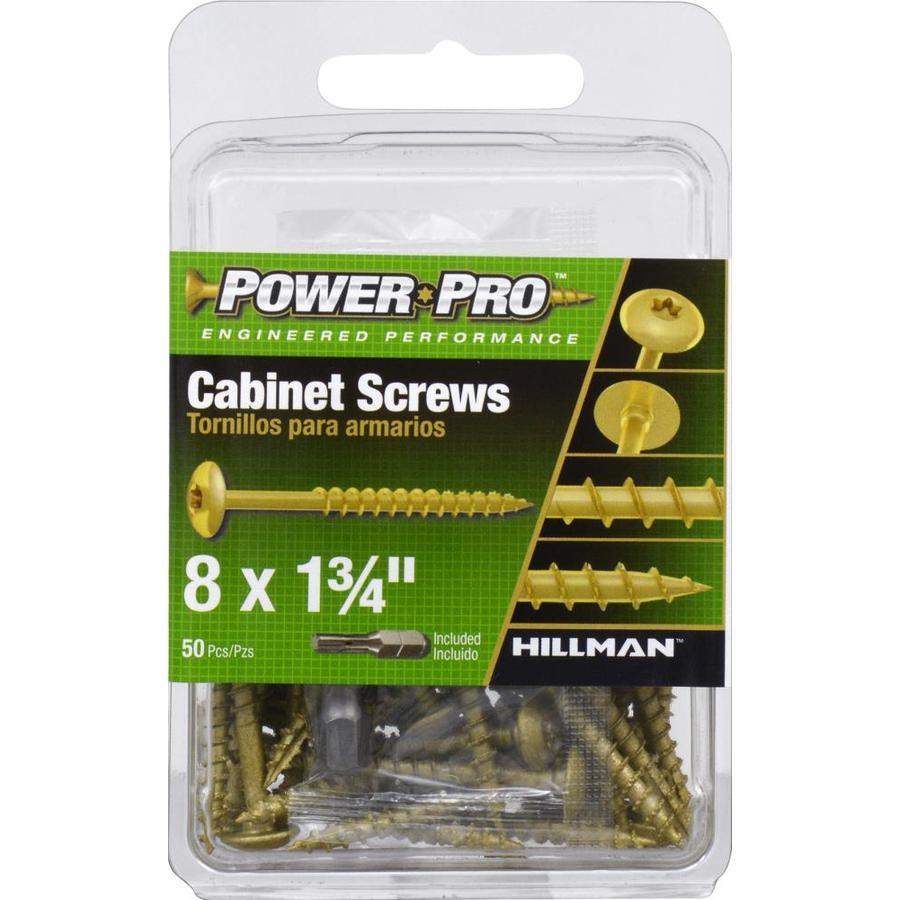 Power Pro #8 x 1-3/4-in Yellow Zinc Round Interior Wood Screws (50