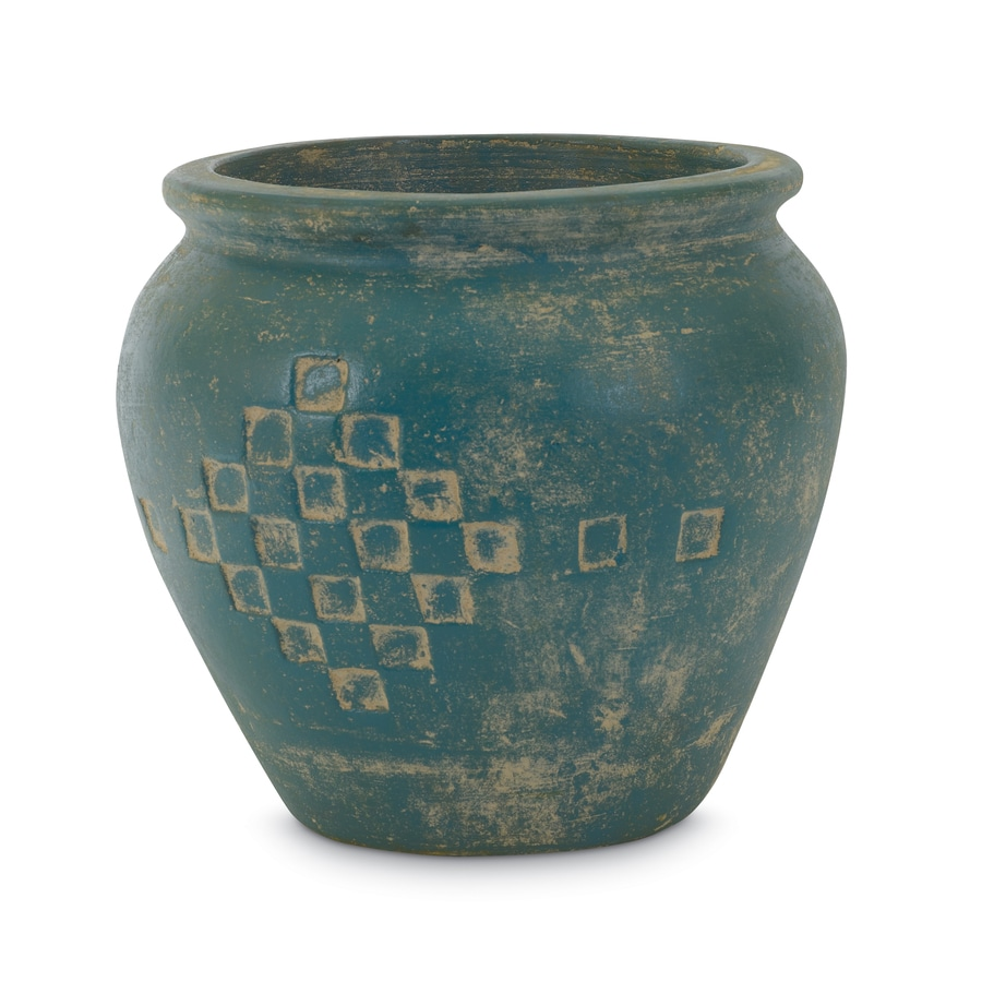 14.5-in x 13.5-in Turquoise Clay Rustic Planter