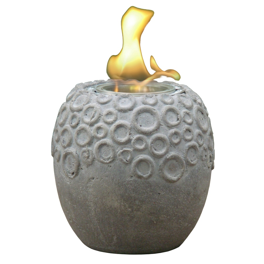 Style Selections Earth Circles 5.12-in Faux Concrete Clay Fire Pot