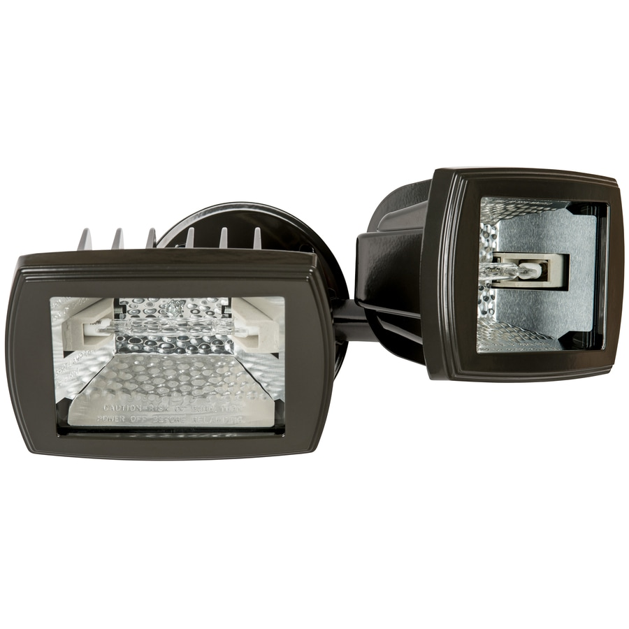 Utilitech 5.5-in 2-Head Halogen Bronze Switch-Controlled Flood Light