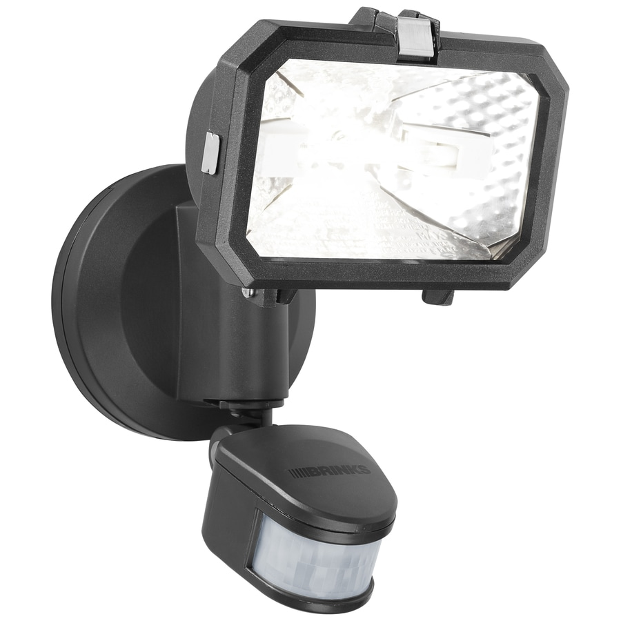 Brinks 180-Degree 1-Head Gray Halogen Motion-Activated Flood Light Timer Included