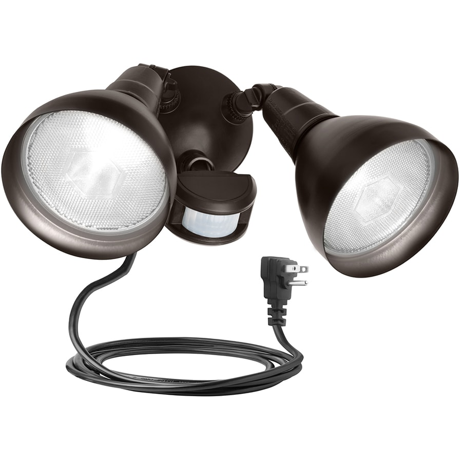 Outdoor Flood Light With Power Outlet: Brinks 180-Degree Bronze Halogen Motion-Activated Flood