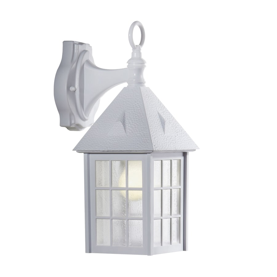 Shop portfolio h white outdoor wall light at for Outdoor home lighting fixtures