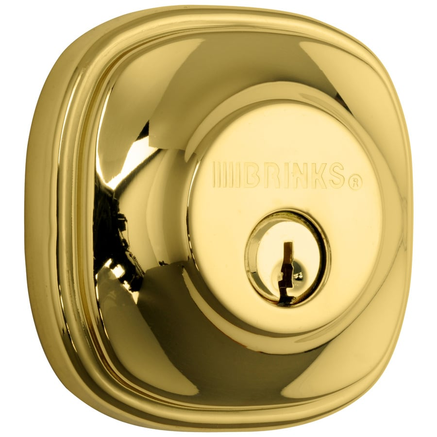 Brink's Home Security Push Pull Rotate Polished Brass Single-Cylinder Deadbolt