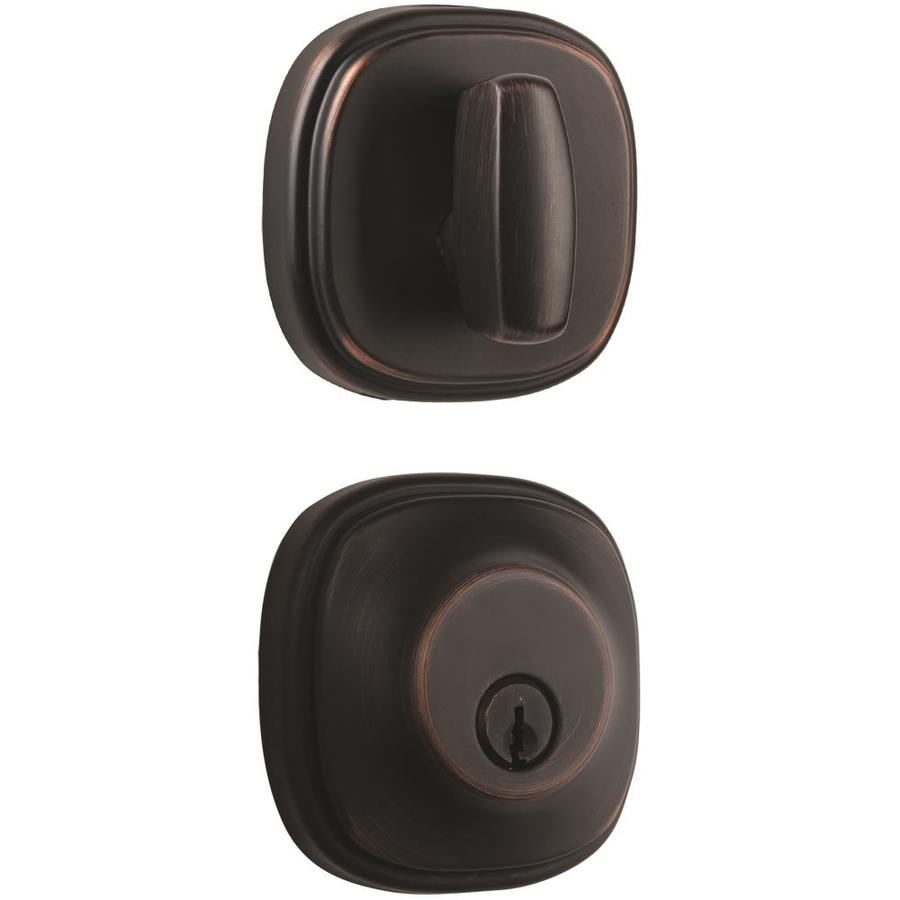 Brink's Home Security Push Pull Rotate Tuscan Bronze Single-Cylinder Deadbolt