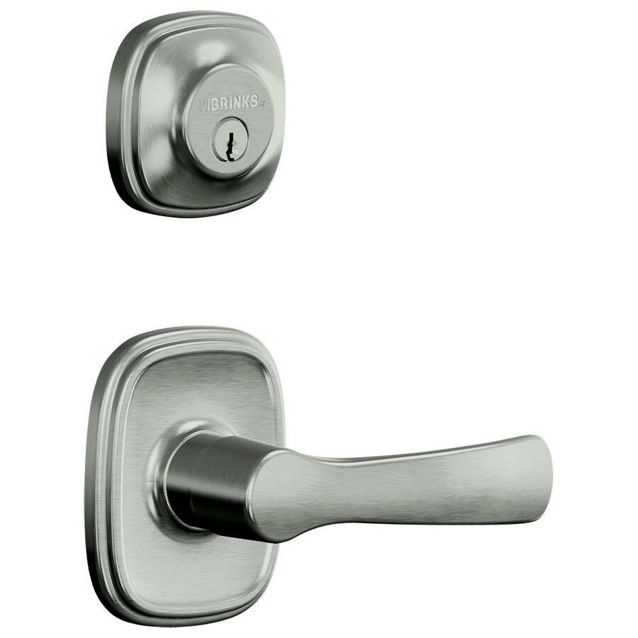Brink's Home Security Push Pull Rotate Traditional Satin Nickel Universal Keyed Entry Door Lever