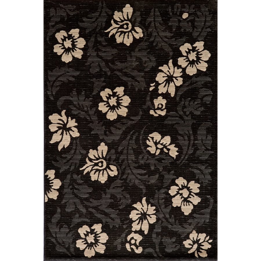 Momeni Jerome Rectangular Black Floral Woven Area Rug (Common: 4-ft x 6-ft; Actual: 3.91-ft x 5.58-ft)