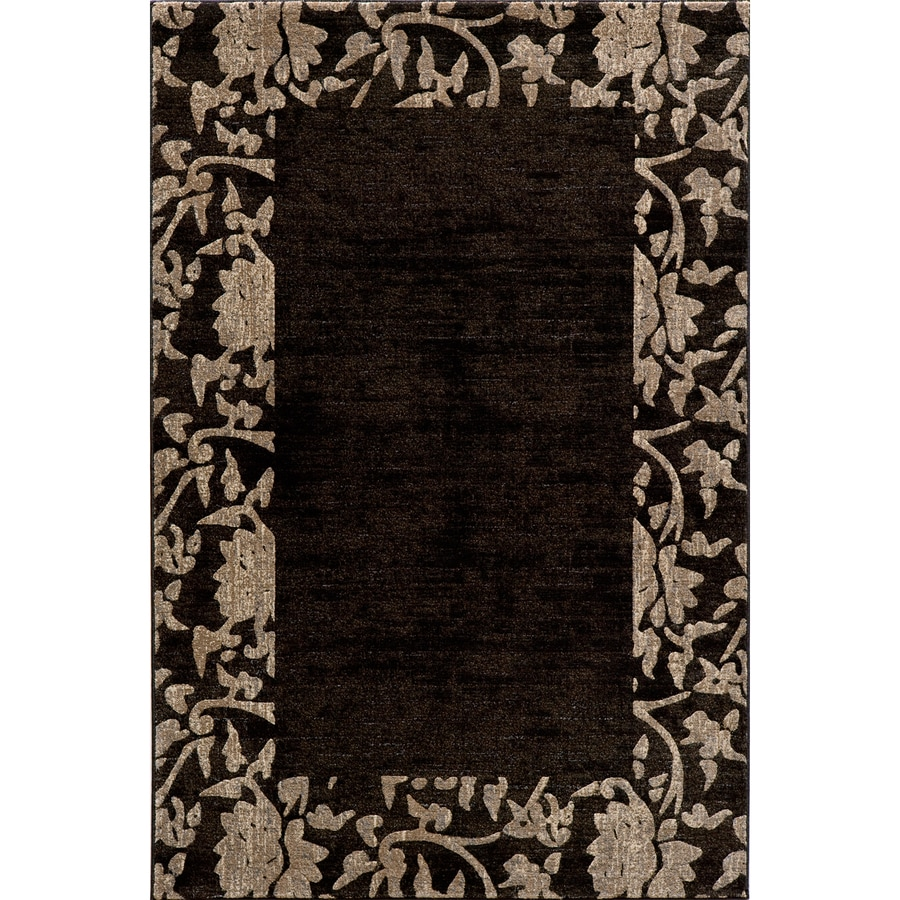 Momeni Crosby Rectangular Black with Brown Border Area Rug (Common: 5-ft x 8-ft; Actual: 5-ft 3-in x 7-ft 6-in)
