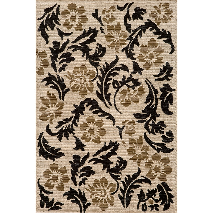 Momeni Jerome Rectangular Cream Floral Woven Area Rug (Common: 8-ft x 10-ft; Actual: 7.83-ft x 9.83-ft)