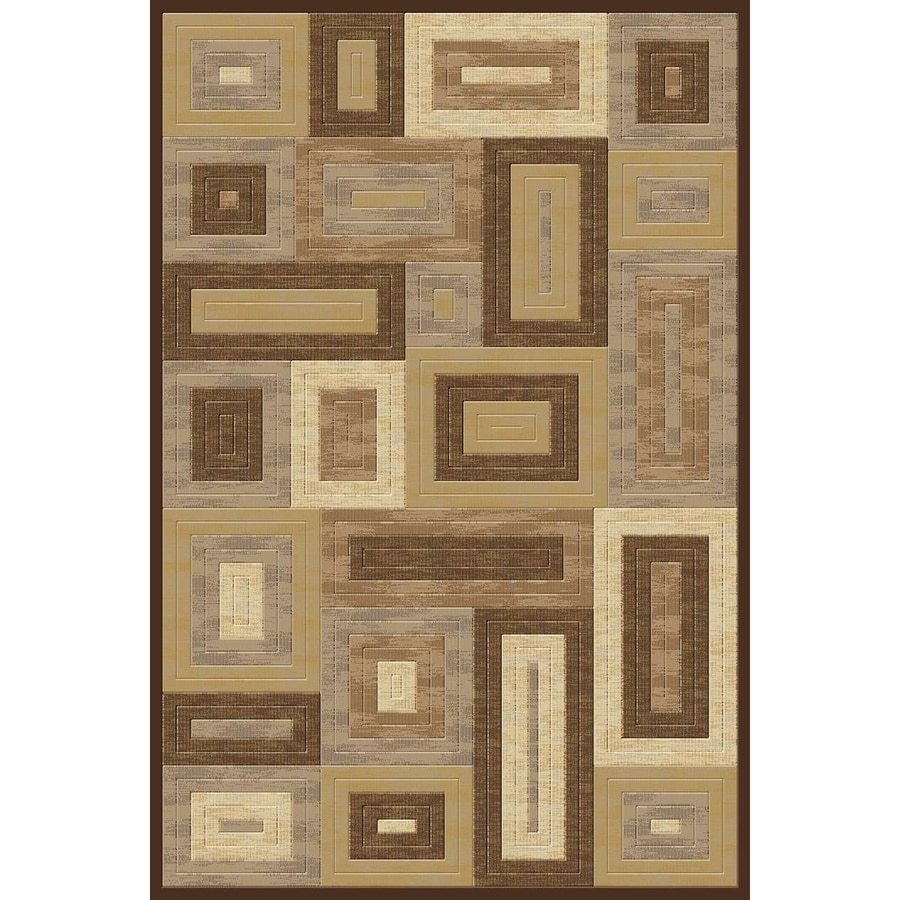 Momeni Boxing Rectangular Cream Geometric Woven Area Rug (Common: 8-ft x 10-ft; Actual: 7.83-ft x 9.83-ft)