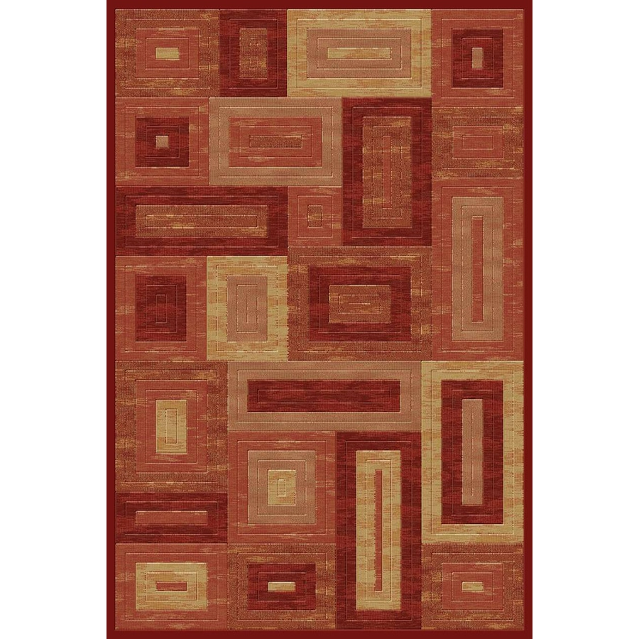 Momeni Boxing Rectangular Red Geometric Woven Area Rug (Common: 10-ft x 13-ft; Actual: 9.25-ft x 12.5-ft)