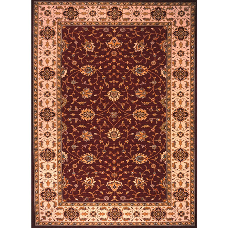 Momeni Gie Rectangular Red With Cream Border Wool Area Rug Common 10 Ft
