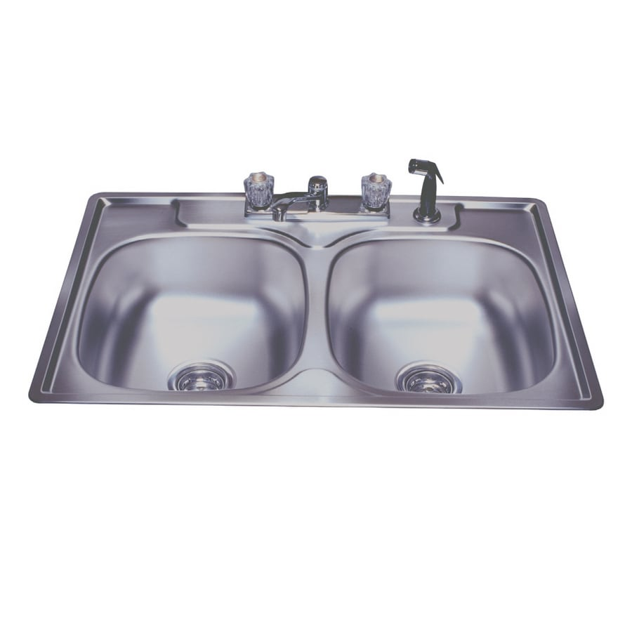 Shop Franke USA Double-Basin Stainless Steel Topmount Kitchen Sink ...