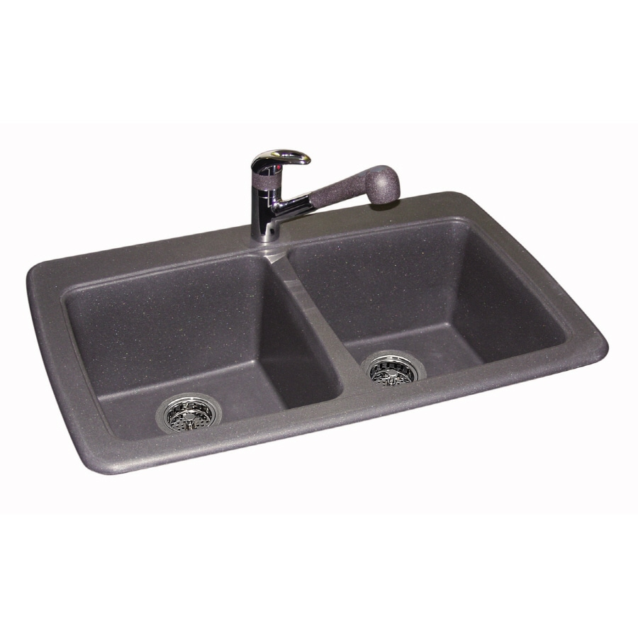 Franke USA 22.25-in x 33.75-in Graphite Double-Basin Granite Drop-in or Undermount Kitchen Sink