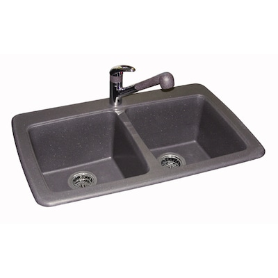 33.75-in x 22.25-in Graphite Double-Basin Drop-In or Undermount-Hole  Kitchen Sink