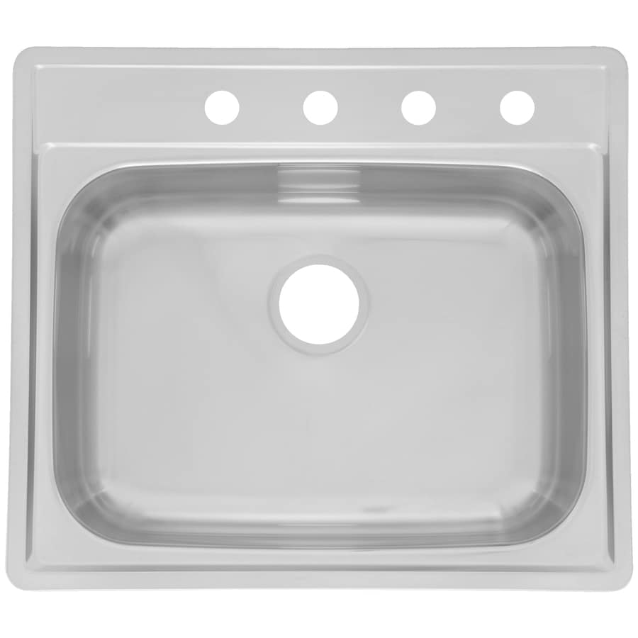 Kindred 22-in x 25-in Radiant Silk Deck and Bowl Single-Basin-Basin Stainless Steel Drop-In-Hole Kitchen Sink