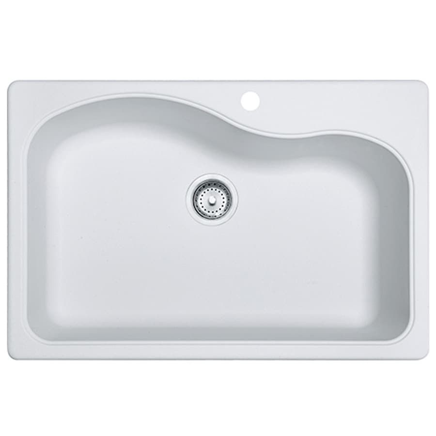 Franke Gravity 33-in x 22-in White Single-Basin-Basin Granite Drop-in or Undermount 4-Hole Commercial/Residential Kitchen Sink
