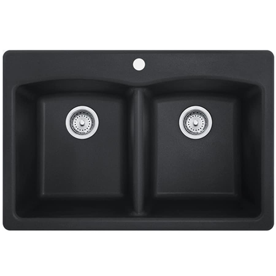 Franke Ellipse 33-in x 22-in Onyx Double-Basin Granite Drop-in or Undermount 4-Hole Commercial/Residential Kitchen Sink