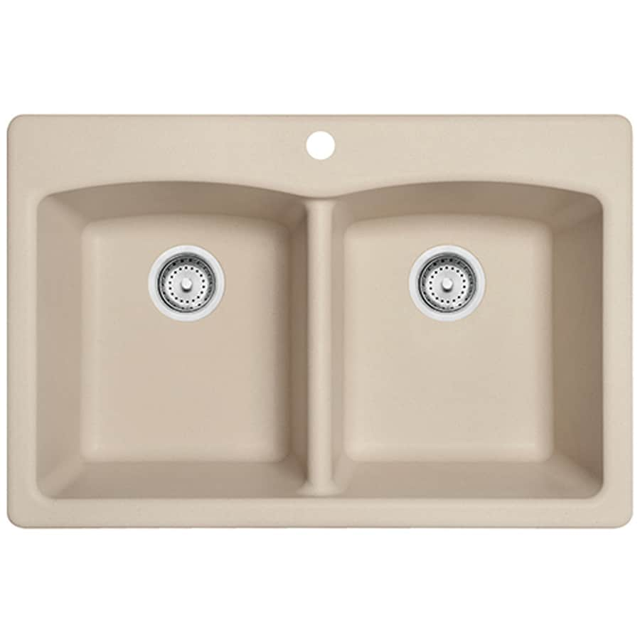 Shop Franke Ellipse 33-in x 22-in Champagne Double-Basin Granite ...