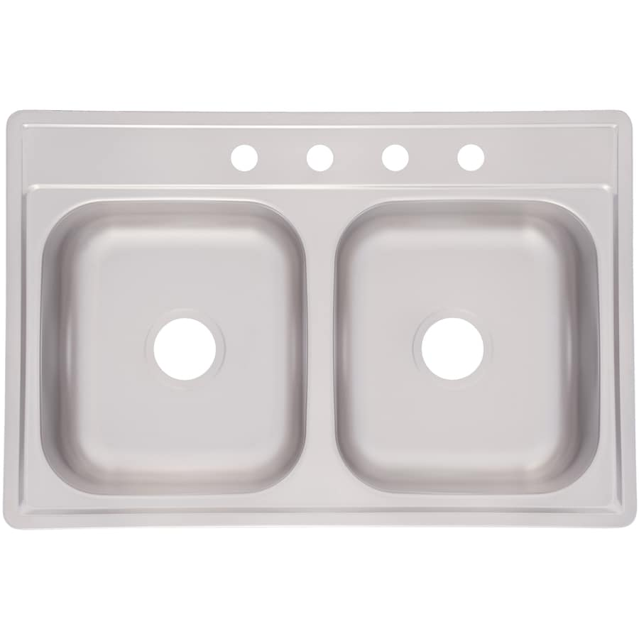 Kindred Essential 33 In X 22 In Satin Double Basin Stainless Steel Drop