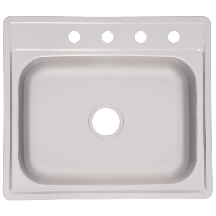Kindred Essential 25-in x 22-in Satin Single-Basin Stainless Steel Drop-in 4-Hole Commercial/Residential Kitchen Sink