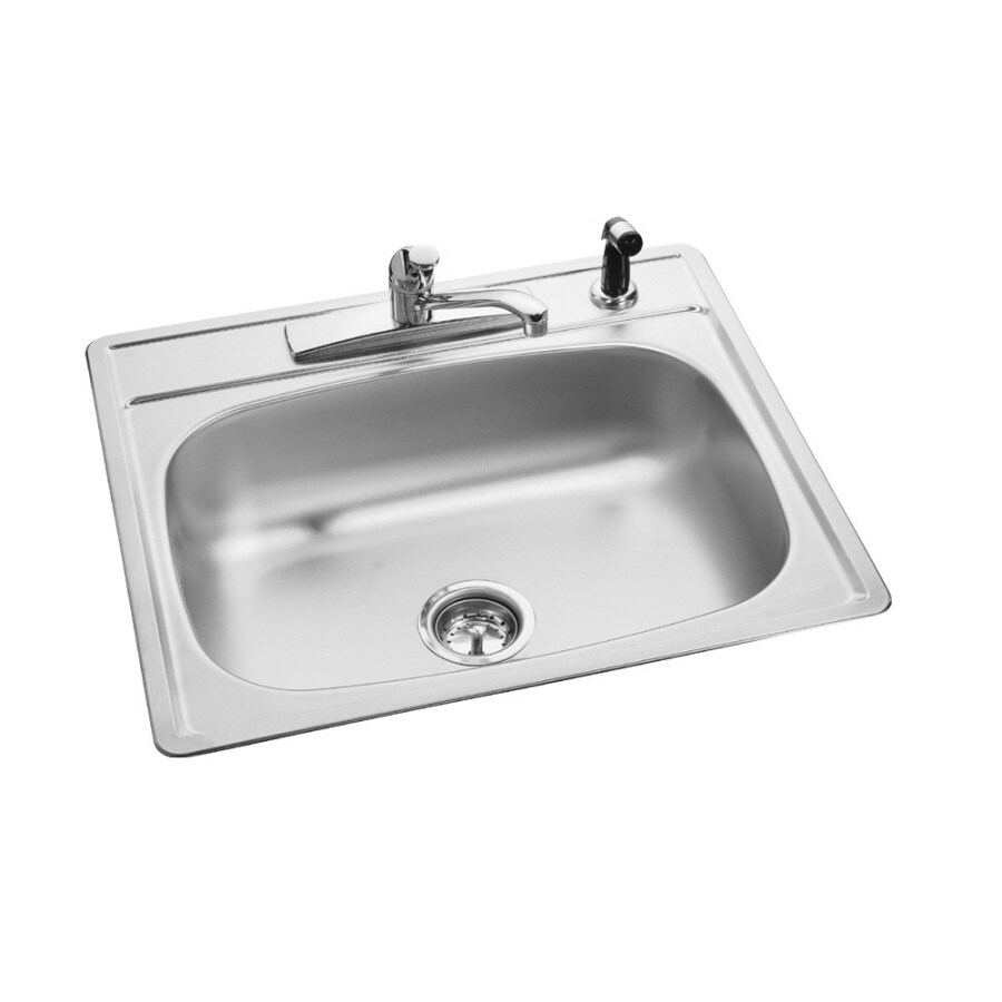 Kindred Essential 25-in x 22-in Single-Basin Stainless Steel Drop-in 4-Hole Commercial/Residential Kitchen Sink All-In-One Kit