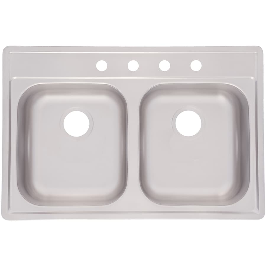 Kindred Essential 33-in x 22-in Satin Double-Basin Stainless Steel Drop-in 4-Hole Commercial/Residential Kitchen Sink