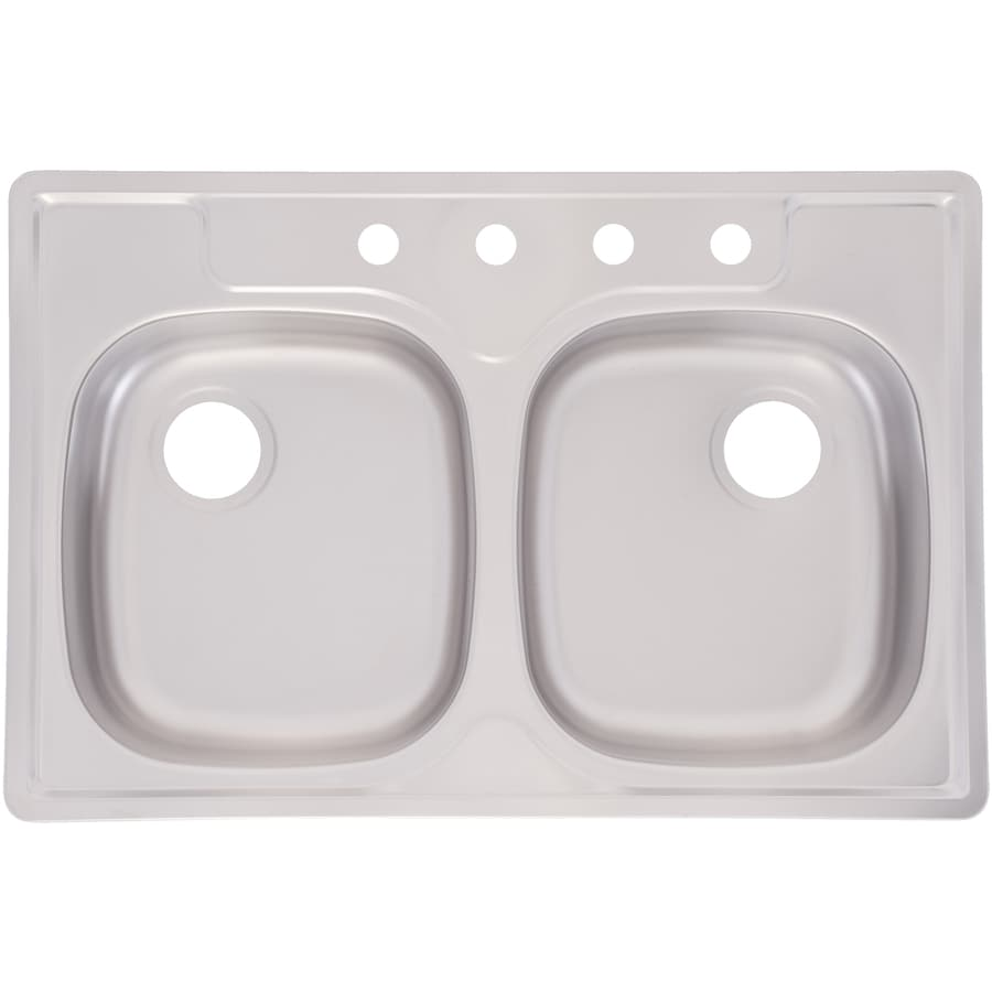 Kindred Essential 33-in x 22-in Satin Deck & Bowls Single-Basin-Basin Stainless Steel Drop-in 4-Hole Commercial/Residential Kitchen Sink
