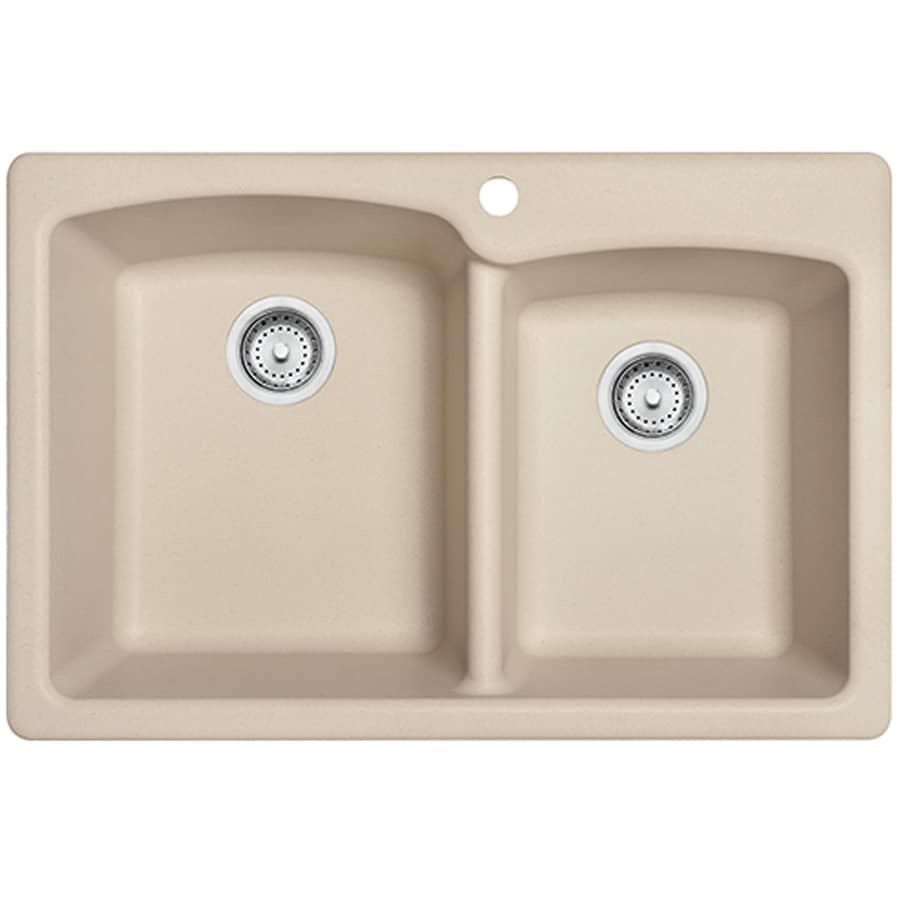 Franke Ellipse 33-in x 22-in Champagne Double-Basin Granite Drop-in or Undermount 4-Hole Commercial/Residential Kitchen Sink