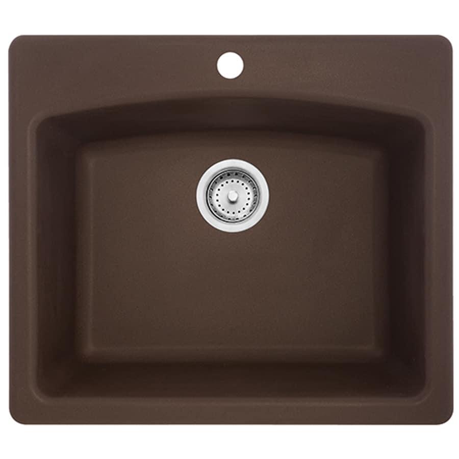 Franke Ellipse 25-in x 22-in Mocha Single-Basin Granite Drop-in or Undermount 4-Hole Commercial/Residential Kitchen Sink