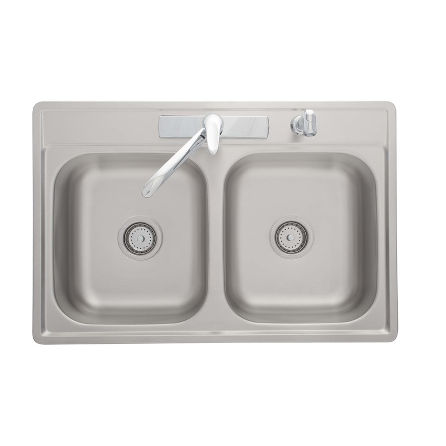 Kindred Essential 33-in x 22-in Satin Double-Basin Stainless Steel Drop-in 4-Hole Commercial/Residential Kitchen Sink All-In-One Kit