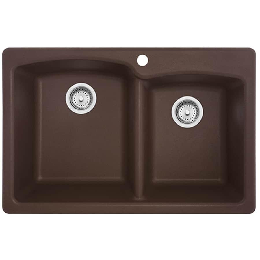 Franke Ellipse 33-in x 22-in Mocha Single-Basin-Basin Granite Drop-in or Undermount 4-Hole Commercial/Residential Kitchen Sink