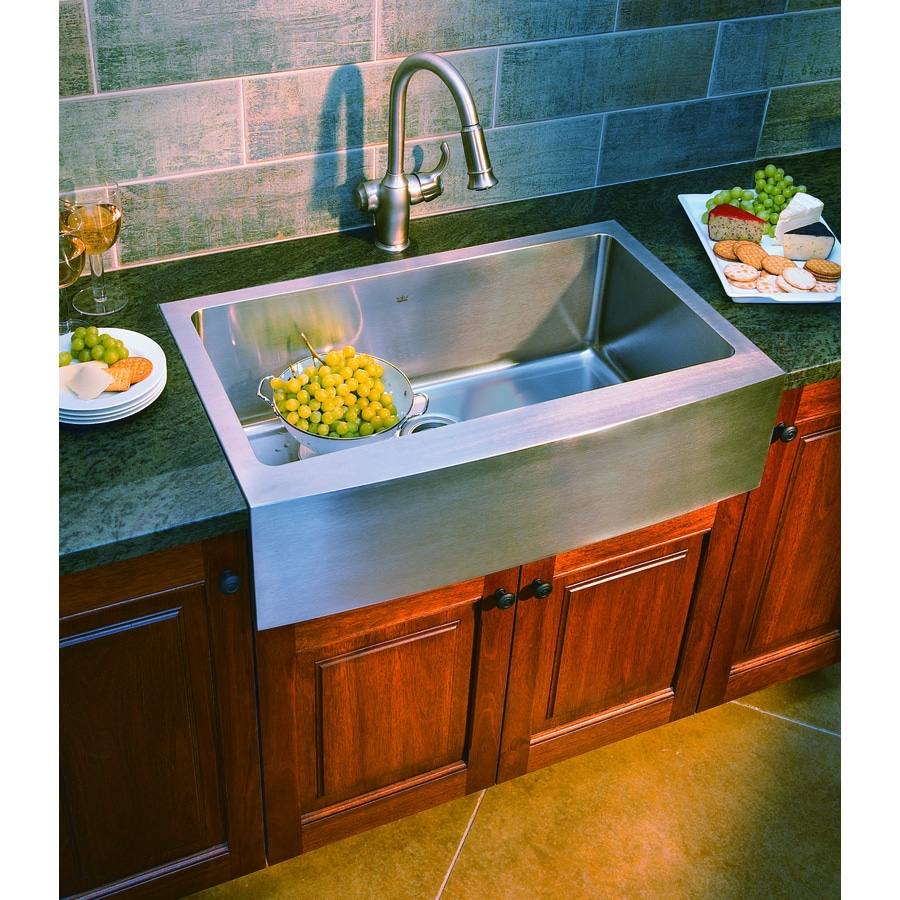 Franke Kinetic 33-in x 20.75-in Satin Rim and Bowl Single-Basin Stainless Steel Apron Front/Farmhouse Commercial/Residential Kitchen Sink