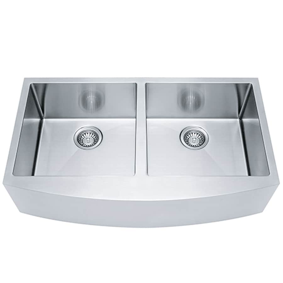 Franke Kinetic 33-in x 19-in Satin Rim and Bowls Single-Basin Stainless Steel Apron Front/Farmhouse Commercial/Residential Kitchen Sink