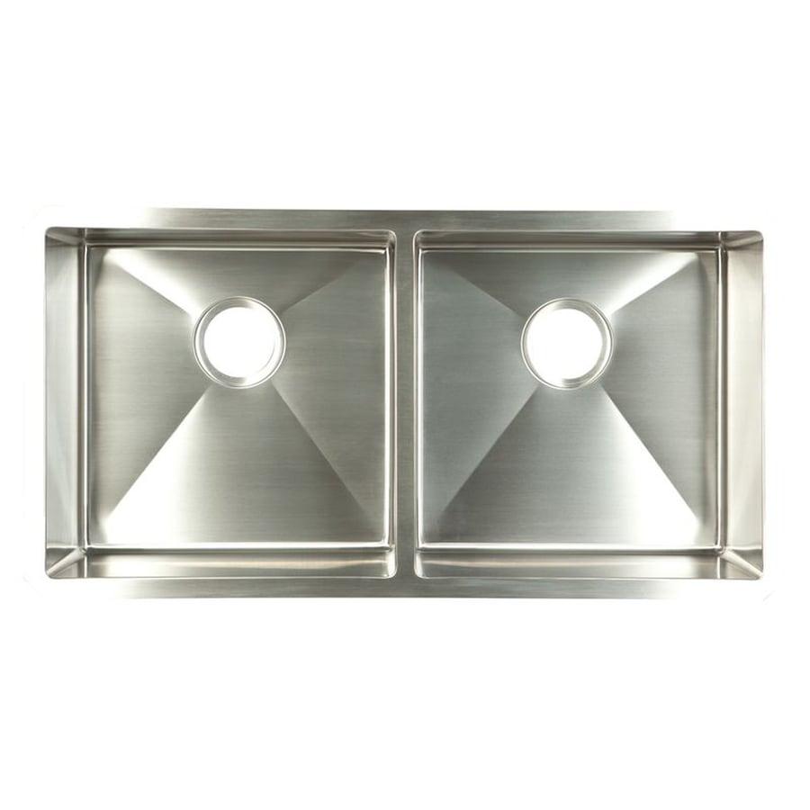 Shop franke 18 in x 35 in satin rim and bowls double basin - Kitchen sink rim ...