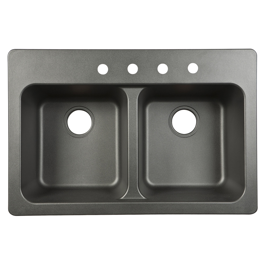 Great Kindred Essential 33 In X 22 In Black Double Basin Composite Drop