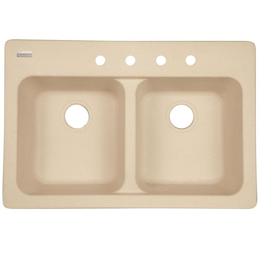 Kindred Essential 33-in x 22-in Sand Double-Basin Composite Drop-in or Undermount 4-Hole Commercial/Residential Kitchen Sink