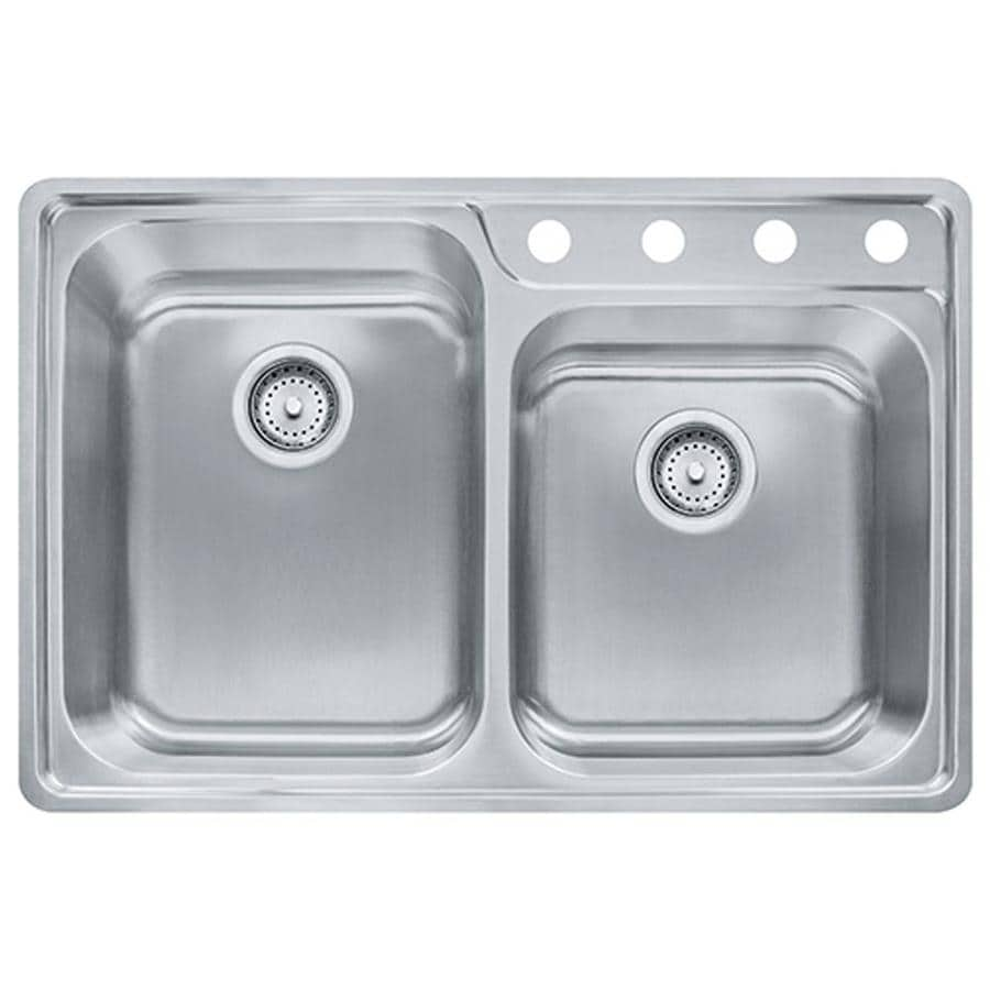 Franke Fast-in 33.5-in x 22.5-in Stainless Steel Single-Basin-Basin Stainless Steel Drop-in 4-Hole Commercial/Residential Kitchen Sink