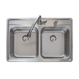 Shop kitchen sinks at lowes franke fast in 335 in x 225 in double basin stainless steel workwithnaturefo