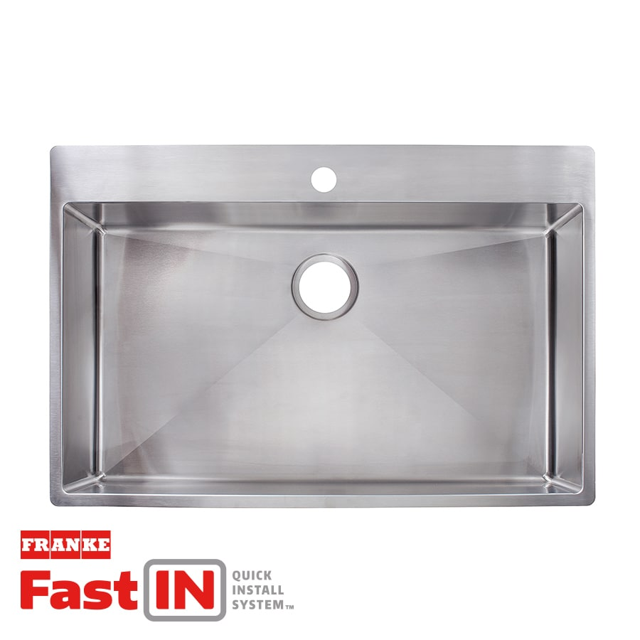 Shop Franke Fast-in 33.5-in x 22.5-in Single-Basin Stainless Steel ...