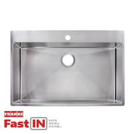 Franke Fast-In 33.5-in x 22.5-in Stainless Steel Single Bowl Drop-In or Undermount 1-Hole Commercial/Residential Kitchen Sink
