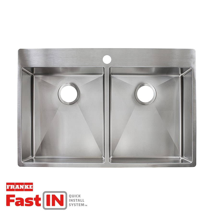 Franke Fast-in 33.5-in x 22.5-in Double-Basin Stainless Steel Drop-in or Undermount 1-Hole Commercial/Residential Kitchen Sink