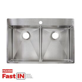 Franke Vector 33.5-in x 22.5-in Stainless Steel Double Equal Bowl Drop-In or Undermount 1-Hole Commercial/Residential Kitchen Sink