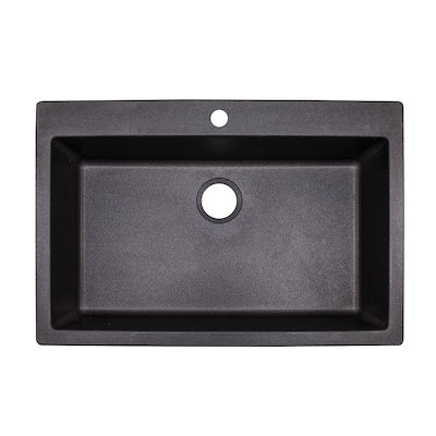 Primo 33-in x 22-in Graphite Single Bowl Drop-In or Undermount 4-Hole  Commercial/Residential Kitchen Sink